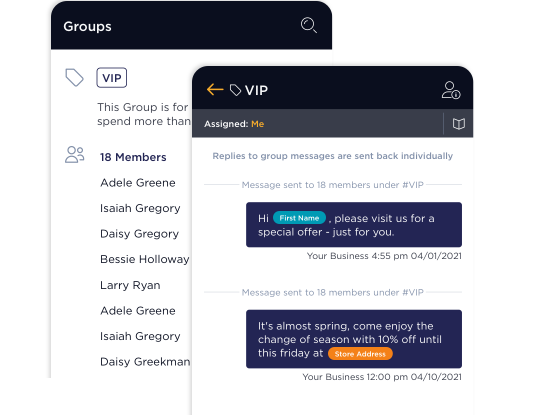 Image depicting sending texts to multiple customers in VIP group with templates inserting customer names in proper places.